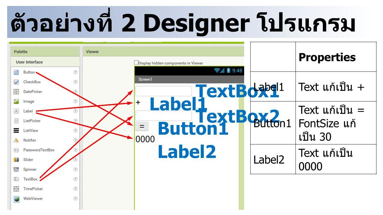 ตัวอย่างที่ 2 Designer โปรแกรม บวกเลข TextBox1 TextBox2 Button1 Label2 Label1 Properties Label1 Text แก้เป็น + Button1 Text แก้เป็น = FontSize แก้ เป็