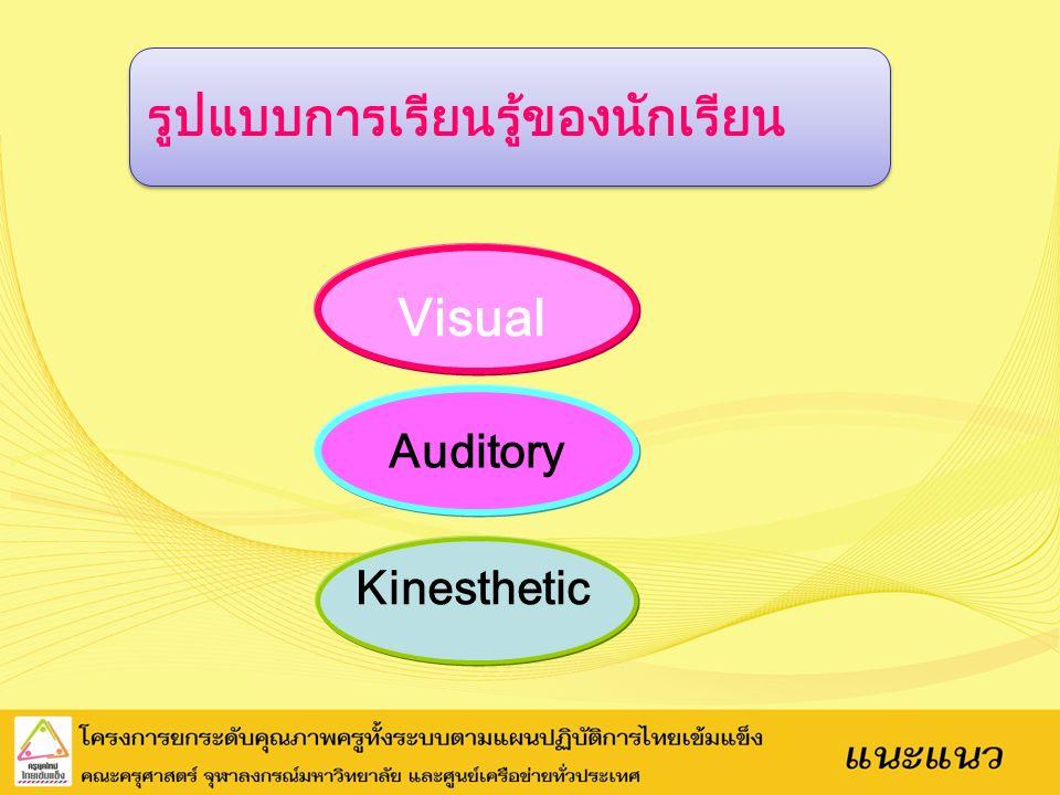 รูปแบบการเรียนรู้ของนักเรียน Kinesthetic Auditory Visual
