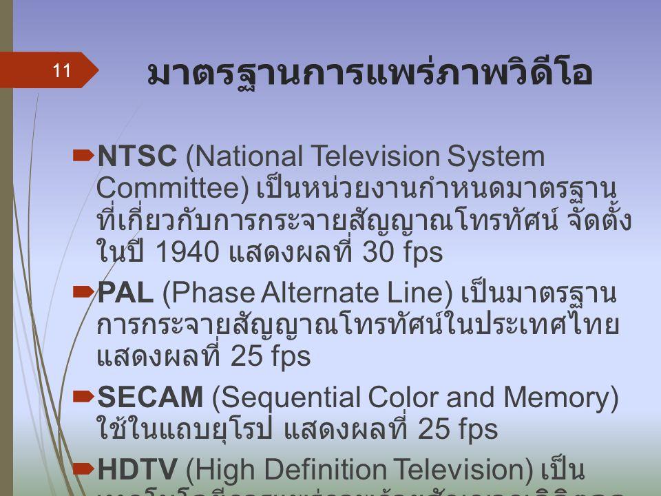 มาตรฐานการแพร่ภาพวิดีโอ  NTSC (National Television System Committee) เป็นหน่วยงานกำหนดมาตรฐาน ที่เกี่ยวกับการกระจายสัญญาณโทรทัศน์ จัดตั้ง ในปี 1940 แสดงผลที่ 30 fps  PAL (Phase Alternate Line) เป็นมาตรฐาน การกระจายสัญญาณโทรทัศน์ในประเทศไทย แสดงผลที่ 25 fps  SECAM (Sequential Color and Memory) ใช้ในแถบยุโรป แสดงผลที่ 25 fps  HDTV (High Definition Television) เป็น เทคโนโลยีการแพร่ภาพด้วยสัญญาณดิจิตอล ที่มีความละเอียดสูง 11