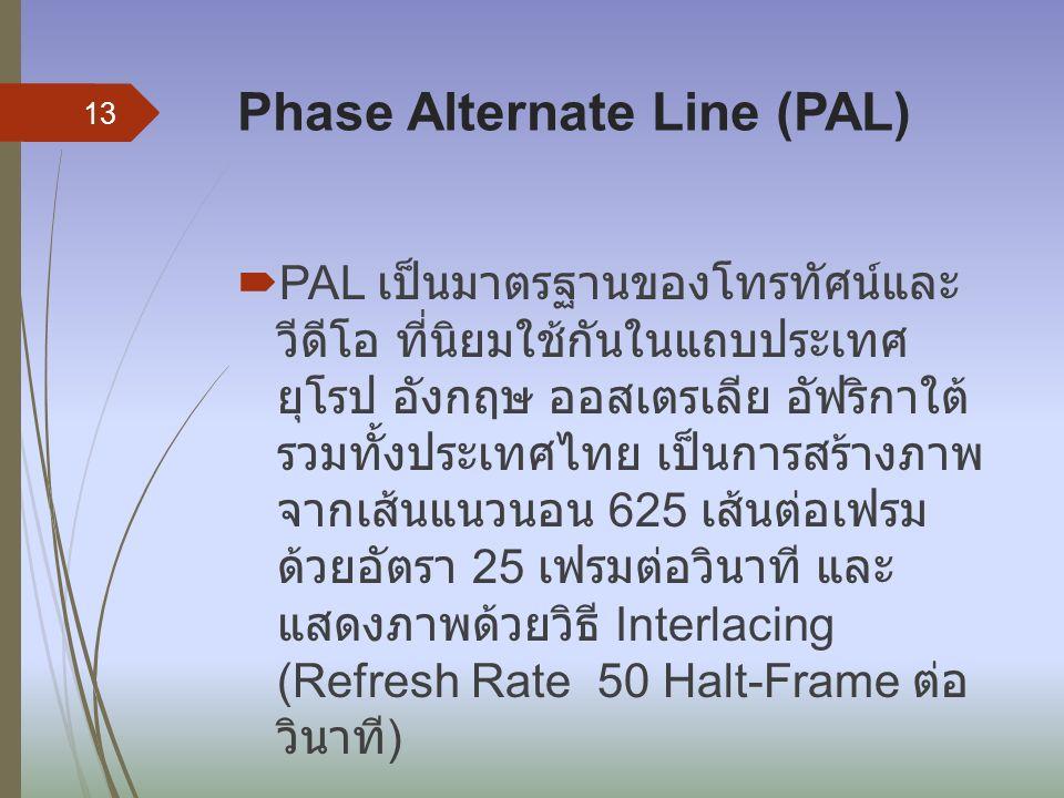 Phase Alternate Line (PAL)  PAL เป็นมาตรฐานของโทรทัศน์และ วีดีโอ ที่นิยมใช้กันในแถบประเทศ ยุโรป อังกฤษ ออสเตรเลีย อัฟริกาใต้ รวมทั้งประเทศไทย เป็นการสร้างภาพ จากเส้นแนวนอน 625 เส้นต่อเฟรม ด้วยอัตรา 25 เฟรมต่อวินาที และ แสดงภาพด้วยวิธี Interlacing (Refresh Rate 50 Halt-Frame ต่อ วินาที ) 13