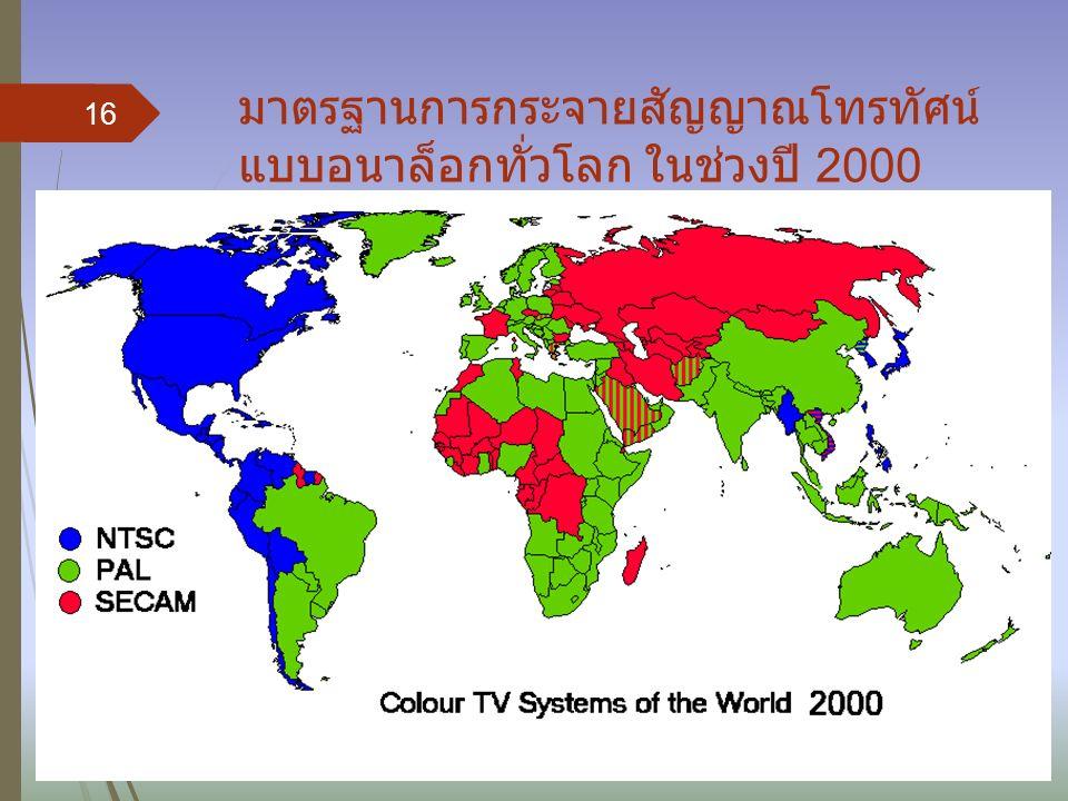 มาตรฐานการกระจายสัญญาณโทรทัศน์ แบบอนาล็อกทั่วโลก ในช่วงปี 2000 16