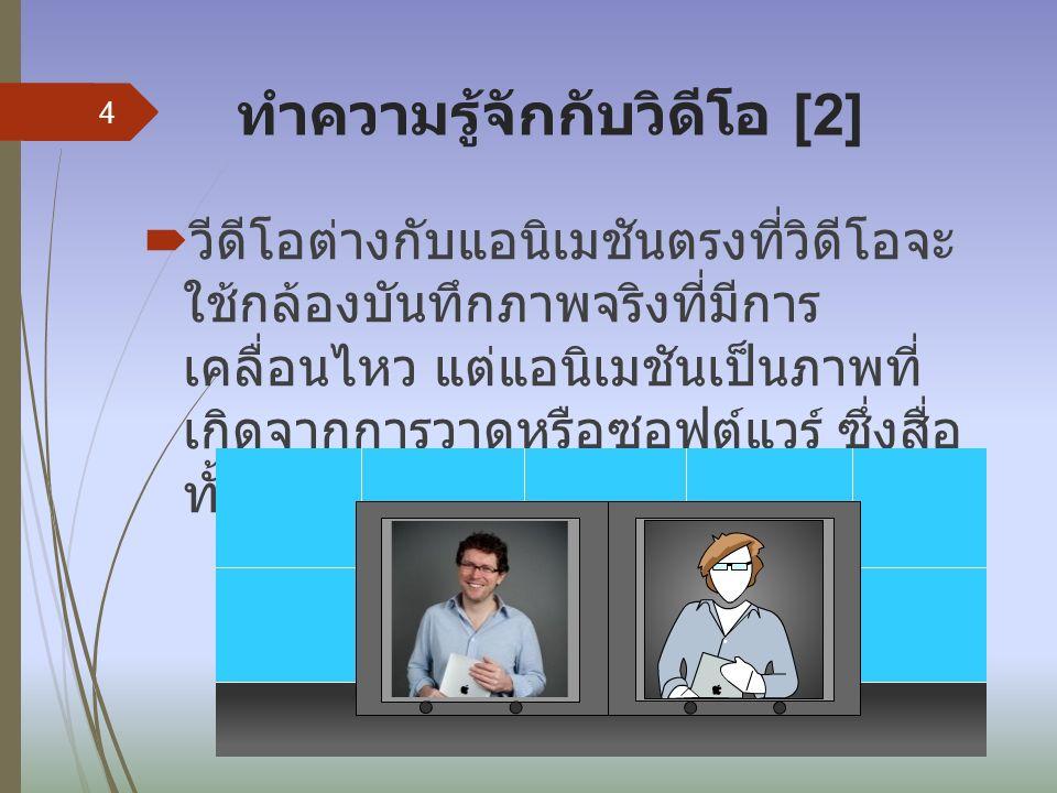ทำความรู้จักกับวิดีโอ [2]  วีดีโอต่างกับแอนิเมชันตรงที่วิดีโอจะ ใช้กล้องบันทึกภาพจริงที่มีการ เคลื่อนไหว แต่แอนิเมชันเป็นภาพที่ เกิดจากการวาดหรือซอฟต