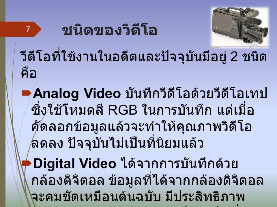 ชนิดของวิดีโอ วีดีโอที่ใช้งานในอดีตและปัจจุบันมีอยู่ 2 ชนิด คือ  Analog Video บันทึกวีดีโอด้วยวีดีโอเทป ซึ่งใช้โหมดสี RGB ในการบันทึก แต่เมื่อ คัดลอกข้อมูลแล้วจะทำให้คุณภาพวิดีโอ ลดลง ปัจจุบันไม่เป็นที่นิยมแล้ว  Digital Video ได้จากการบันทึกด้วย กล้องดิจิตอล ข้อมูลที่ได้จากกล้องดิจิตอล จะคมชัดเหมือนต้นฉบับ มีประสิทธิภาพ ของวิดีโอมากกว่าแบบอนาล็อก เป็นที่นิยม ใช้งานในปัจจุบัน 7