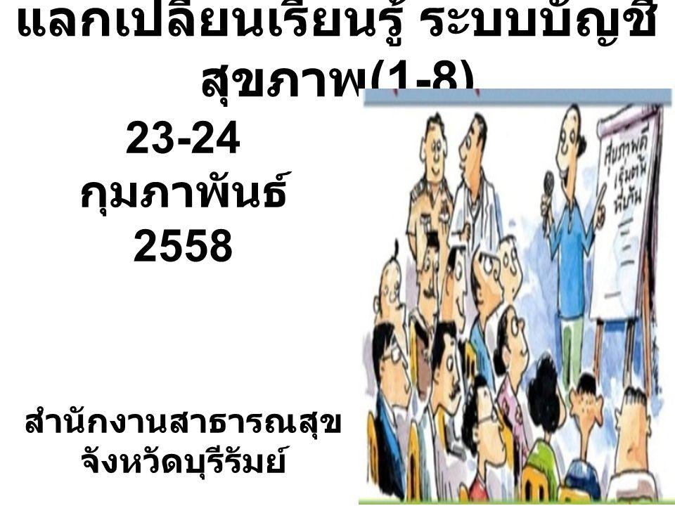 แลกเปลี่ยนเรียนรู้ ระบบบัญชี สุขภาพ (1-8) 23-24 กุมภาพันธ์ 2558 สำนักงานสาธารณสุข จังหวัดบุรีรัมย์