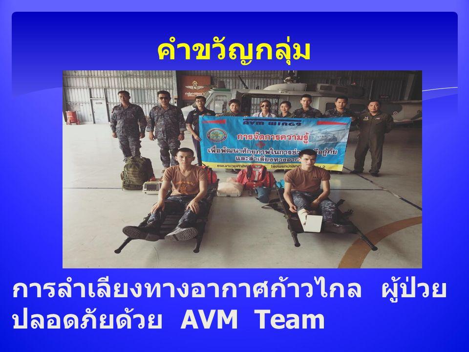 การลำเลียงทางอากาศก้าวไกล ผู้ป่วย ปลอดภัยด้วย AVM Team คำขวัญกลุ่ม