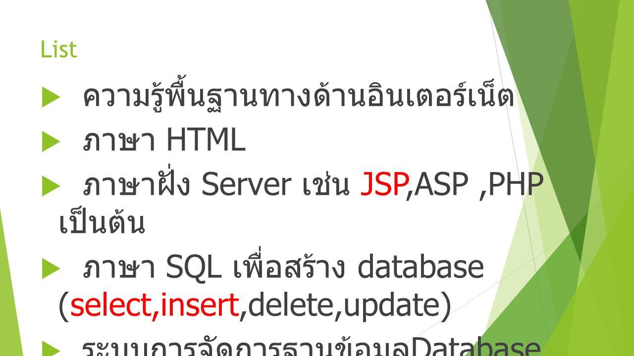 List  ความรู้พื้นฐานทางด้านอินเตอร์เน็ต  ภาษา HTML  ภาษาฝั่ง Server เช่น JSP,ASP,PHP เป็นต้น  ภาษา SQL เพื่อสร้าง database (select,insert,delete,u