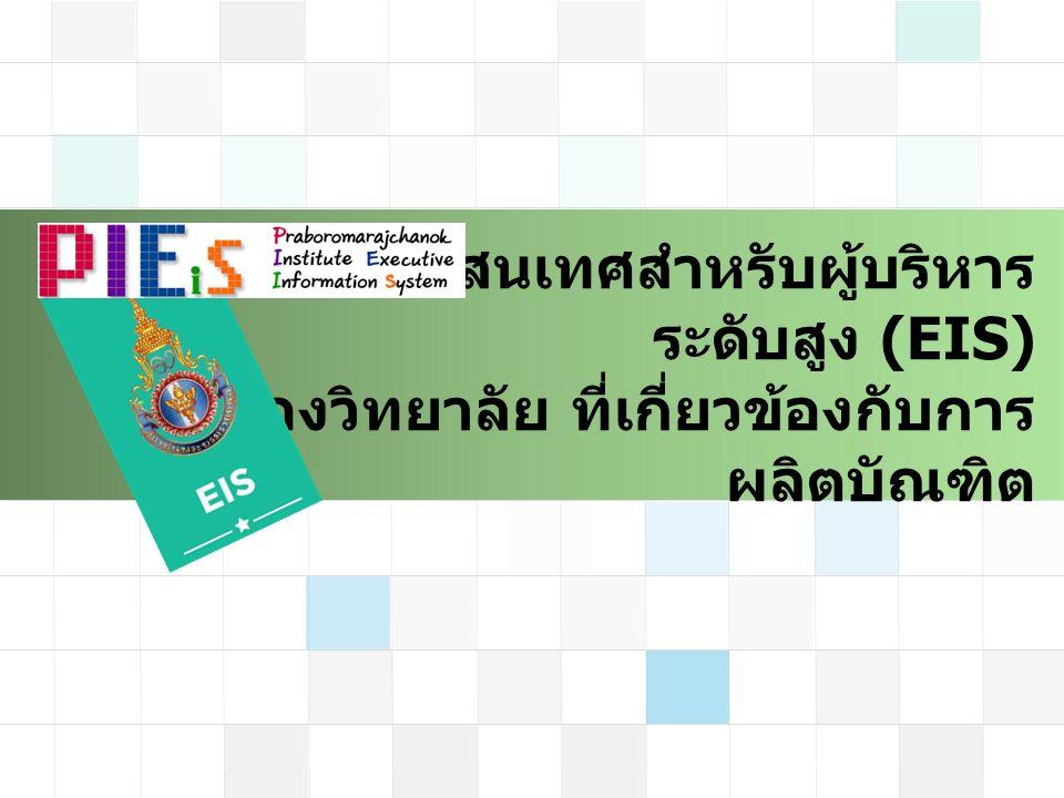 ระบบสารสนเทศสำหรับผู้บริหาร ระดับสูง (EIS) ของวิทยาลัย ที่เกี่ยวข้องกับการ ผลิตบัณฑิต