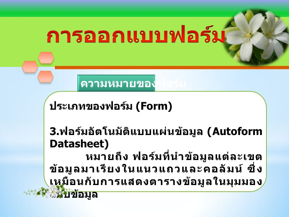 ประเภทของฟอร์ม (Form) 3.