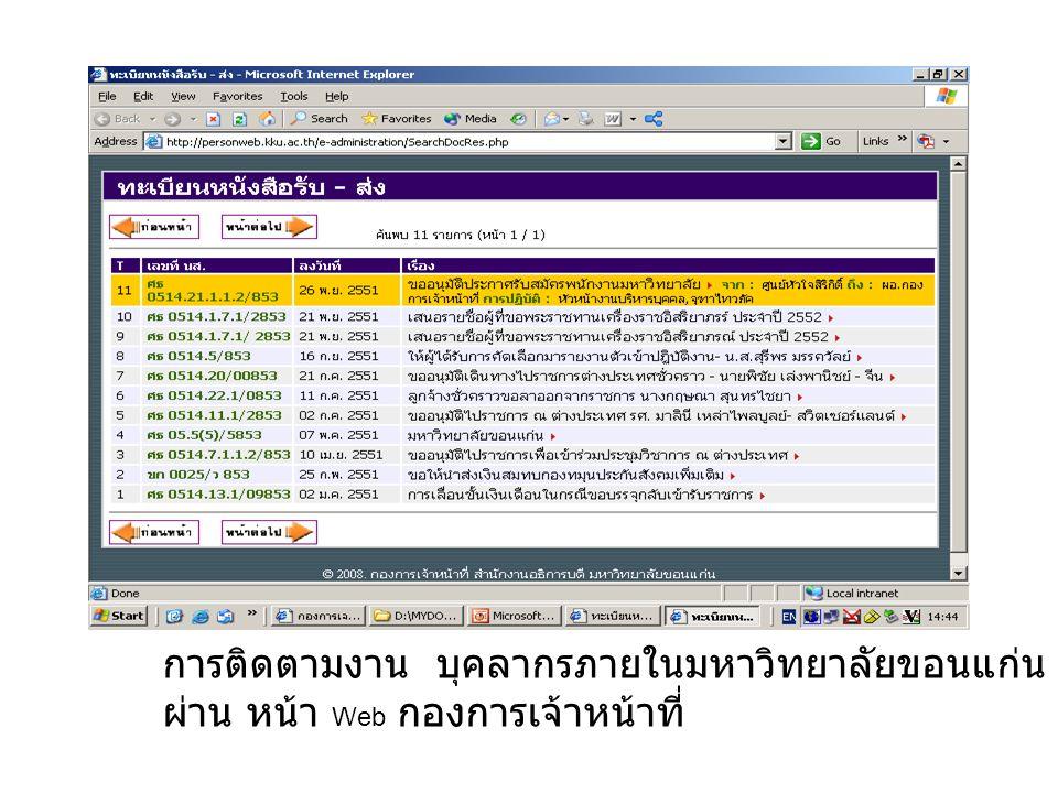 การติดตามงาน บุคลากรภายในมหาวิทยาลัยขอนแก่น สามารถติดตามงาน ผ่าน หน้า Web กองการเจ้าหน้าที่