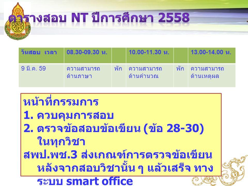 วันสอบ เวลา 08.30-09.30 น.10.00-11.30 น.13.00-14.00 น.