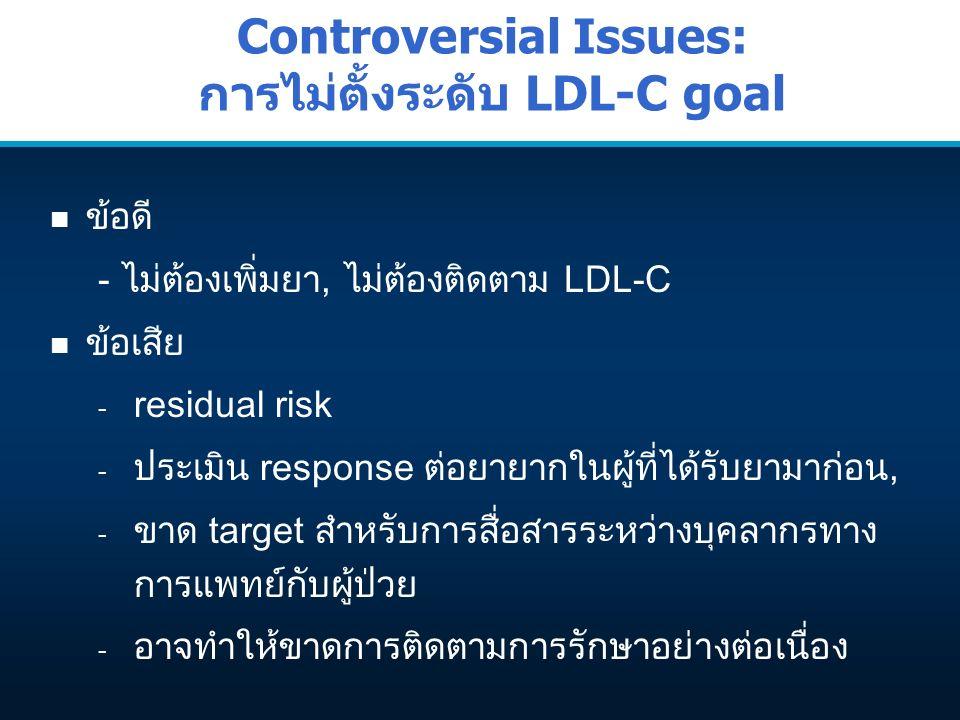 Controversial Issues: การไม่ตั้งระดับ LDL-C goal n ข้อดี - ไม่ต้องเพิ่มยา, ไม่ต้องติดตาม LDL-C n ข้อเสีย - residual risk - ประเมิน response ต่อยายากใน