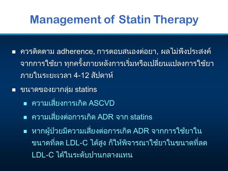 Management of Statin Therapy n ควรติดตาม adherence, การตอบสนองต่อยา, ผลไม่พึงประสงค์ จากการใช้ยา ทุกครั้งภายหลังการเริ่มหรือเปลี่ยนแปลงการใช้ยา ภายในระยะเวลา 4-12 สัปดาห์ n ขนาดของยากลุ่ม statins n ความเสี่ยงการเกิด ASCVD n ความเสี่ยงต่อการเกิด ADR จาก statins n หากผู้ป่วยมีความเสี่ยงต่อการเกิด ADR จากการใช้ยาใน ขนาดที่ลด LDL-C ได้สูง ก็ให้พิจารณาใช้ยาในขนาดที่ลด LDL-C ได้ในระดับปานกลางแทน