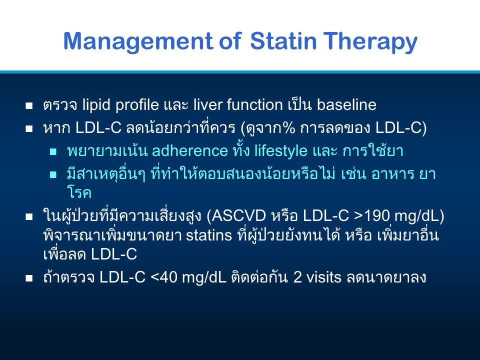 Management of Statin Therapy n ตรวจ lipid profile และ liver function เป็น baseline n หาก LDL-C ลดน้อยกว่าที่ควร (ดูจาก% การลดของ LDL-C) n พยายามเน้น a