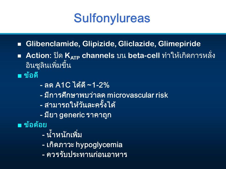 Sulfonylureas n Glibenclamide, Glipizide, Gliclazide, Glimepiride n Action: ปิด K ATP channels บน beta-cell ทำให้เกิดการหลั่ง อินซูลินเพิ่มขึ้น ■ ข้อดี - ลด A1C ได้ดี ~1-2% - มีการศึกษาพบว่าลด microvascular risk - สามารถให้วันละครั้งได้ - มียา generic ราคาถูก ■ ข้อด้อย - น้ำหนักเพิ่ม - เกิดภาวะ hypoglycemia - ควรรับประทานก่อนอาหาร
