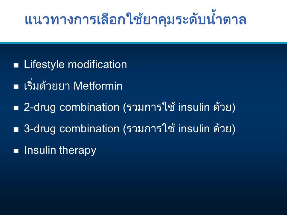 แนวทางการเลือกใช้ยาคุมระดับน้ำตาล n Lifestyle modification n เริ่มด้วยยา Metformin n 2-drug combination (รวมการใช้ insulin ด้วย) 3-drug combination ( รวมการใช้ insulin ด้วย ) n Insulin therapy