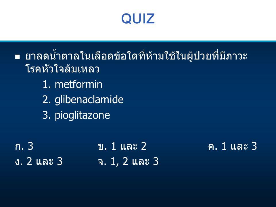 QUIZ n ยาลดน้ำตาลในเลือดข้อใดที่ห้ามใช้ในผู้ป่วยที่มีภาวะ โรคหัวใจล้มเหลว 1. metformin 2. glibenaclamide 3. pioglitazone ก. 3ข. 1 และ 2ค. 1 และ 3 ง. 2