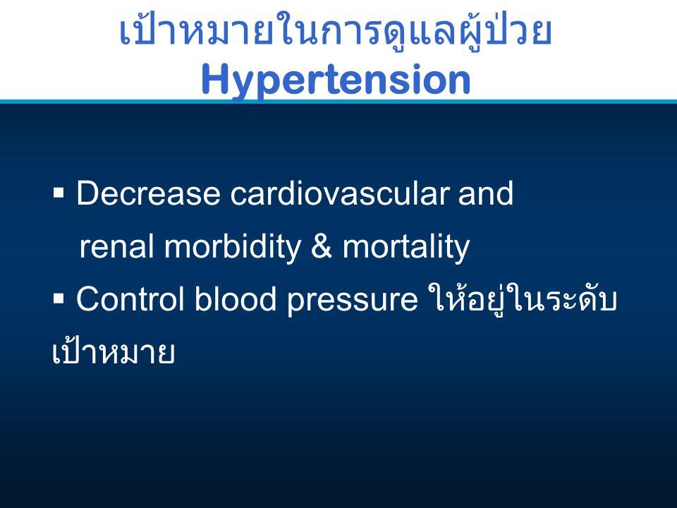 เป้าหมายในการดูแลผู้ป่วย Hypertension  Decrease cardiovascular and renal morbidity & mortality  Control blood pressure ให้อยู่ในระดับ เป้าหมาย
