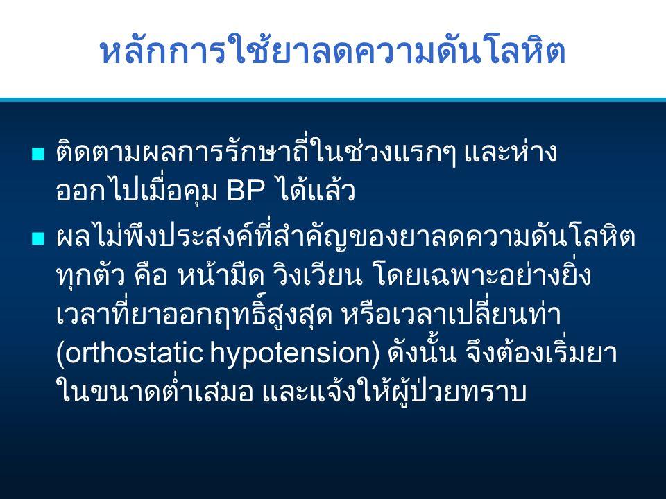 หลักการใช้ยาลดความดันโลหิต n ติดตามผลการรักษาถี่ในช่วงแรกๆ และห่าง ออกไปเมื่อคุม BP ได้แล้ว n ผลไม่พึงประสงค์ที่สำคัญของยาลดความดันโลหิต ทุกตัว คือ หน