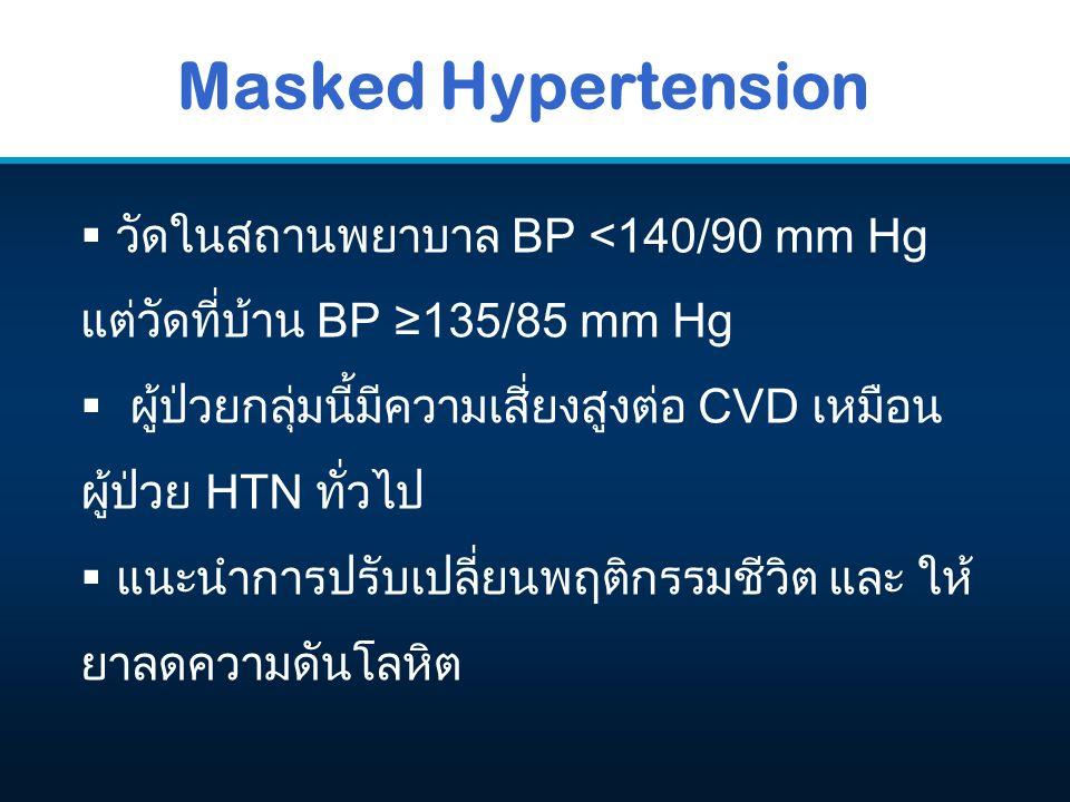Masked Hypertension  วัดในสถานพยาบาล BP <140/90 mm Hg แต่วัดที่บ้าน BP ≥135/85 mm Hg  ผู้ป่วยกลุ่มนี้มีความเสี่ยงสูงต่อ CVD เหมือน ผู้ป่วย HTN ทั่วไ