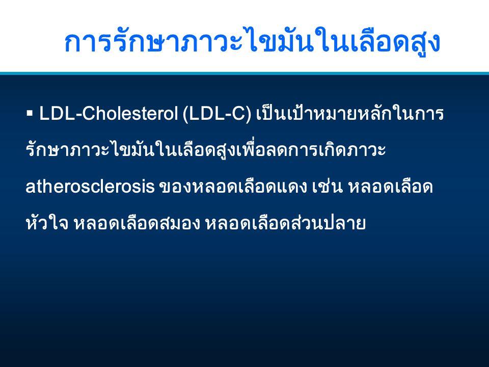 การรักษาภาวะไขมันในเลือดสูง  LDL-Cholesterol (LDL-C) เป็นเป้าหมายหลักในการ รักษาภาวะไขมันในเลือดสูงเพื่อลดการเกิดภาวะ atherosclerosis ของหลอดเลือดแดง เช่น หลอดเลือด หัวใจ หลอดเลือดสมอง หลอดเลือดส่วนปลาย