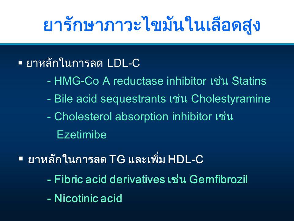 ยารักษาภาวะไขมันในเลือดสูง  ยาหลักในการลด LDL-C - HMG-Co A reductase inhibitor เช่น Statins - Bile acid sequestrants เช่น Cholestyramine - Cholesterol absorption inhibitor เช่น Ezetimibe  ยาหลักในการลด TG และเพิ่ม HDL-C - Fibric acid derivatives เช่น Gemfibrozil - Nicotinic acid