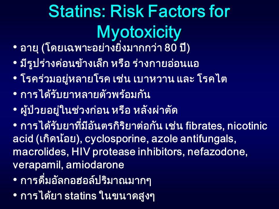 Statins: Risk Factors for Myotoxicity อายุ (โดยเฉพาะอย่างยิ่งมากกว่า 80 ปี) มีรูปร่างค่อนข้างเล็ก หรือ ร่างกายอ่อนแอ โรคร่วมอยู่หลายโรค เช่น เบาหวาน แ