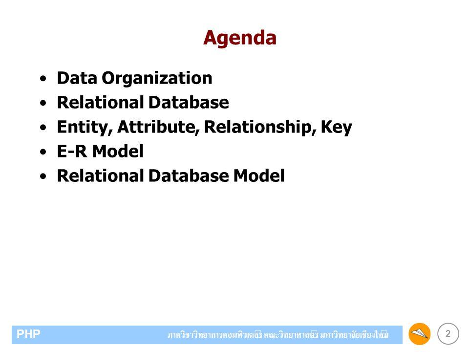 2 PHP ภาควิชาวิทยาการคอมพิวเตอร์ คณะวิทยาศาสตร์ มหาวิทยาลัยเชียงใหม่ Agenda Data Organization Relational Database Entity, Attribute, Relationship, Key E-R Model Relational Database Model