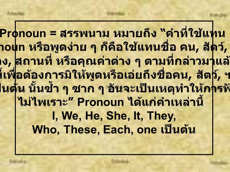 "Noun = นาม แปลว่า "" ชื่อ "" ได้แก่ "" คำที่เราใช้เรียกชื่อคน, สัตว์, สิ่งของ, สถานที่, คุณสมบัติหรือคุณค่าต่าง ๆ เช่น คน : Pancake, Dan, Bie สัตว์ : cat"