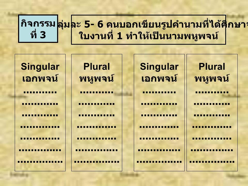 Singular and plural ( อกพจน์ และ พหูพจน์ ) คำนามที่มีเพียงสิ่งเดียวเรียกนามเอกพจน์ เช่น Cat หรือ a cat, sister หรือ a sister เป็นต้น คำนามที่สามารถนับได้เป็น 1, 2, 3....