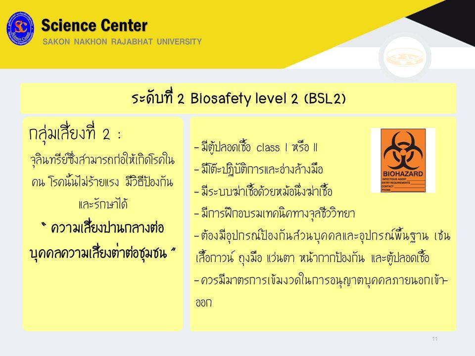 """ระดับที่ 2 Biosafety level 2 (BSL2) กลุ่มเสี่ยงที่ 2 : จุลินทรีย์ซึ่งสามารถก่อให้เกิดโรคใน คน โรคนั้นไม่ร้ายแรง มีวิธีป้องกัน และรักษาได้ """" ความเสี่ยง"""