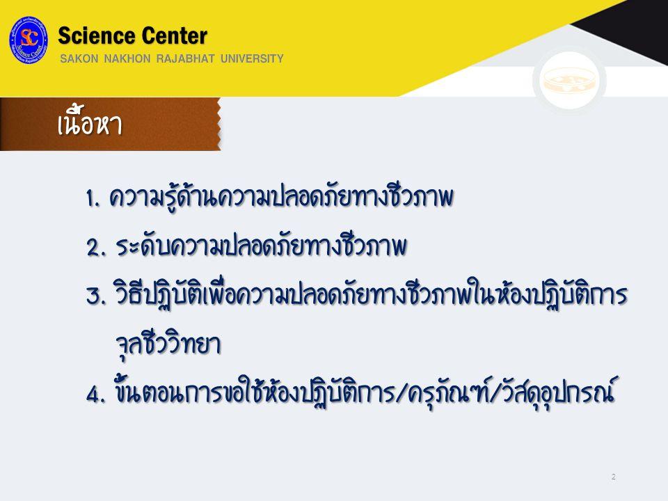 1. ความรู้ด้านความปลอดภัยทางชีวภาพ 2. ระดับความปลอดภัยทางชีวภาพ 3. วิธีปฏิบัติเพื่อความปลอดภัยทางชีวภาพในห้องปฏิบัติการ จุลชีววิทยา จุลชีววิทยา 4. ขั้