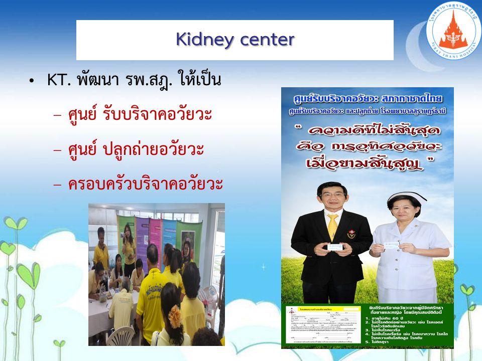 KT. พัฒนา รพ.สฎ. ให้เป็น – ศูนย์ รับบริจาคอวัยวะ – ศูนย์ ปลูกถ่ายอวัยวะ – ครอบครัวบริจาคอวัยวะ Kidney center