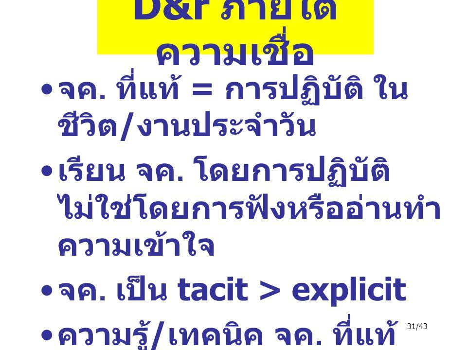 31/43 D&r ภายใต้ ความเชื่อ จค. ที่แท้ = การปฏิบัติ ใน ชีวิต / งานประจำวัน เรียน จค.