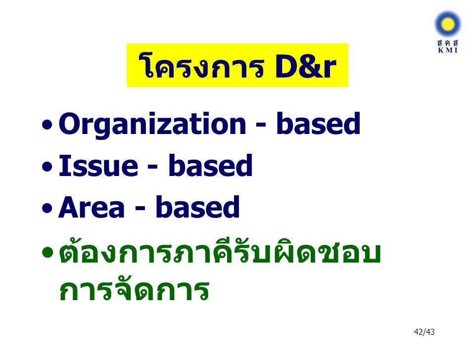 42/43 โครงการ D&r Organization - based Issue - based Area - based ต้องการภาคีรับผิดชอบ การจัดการ