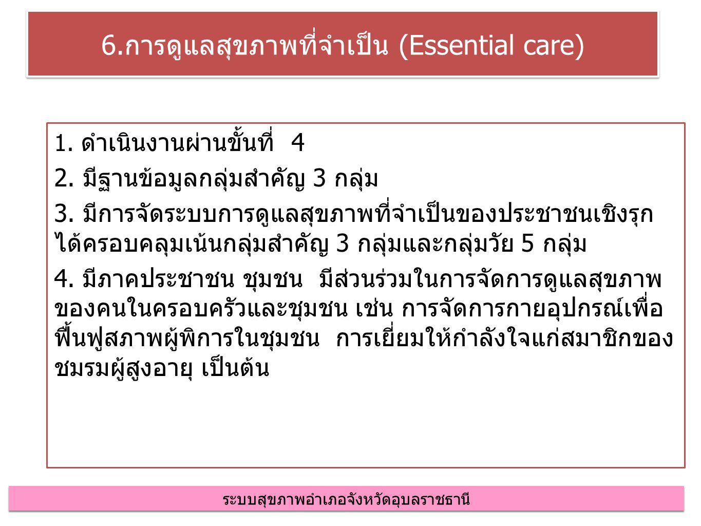 6.การดูแลสุขภาพที่จำเป็น (Essential care) 1. ดำเนินงานผ่านขั้นที่ 4 2.