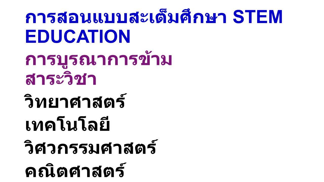 การสอนแบบสะเต็มศึกษา STEM EDUCATION การบูรณาการข้าม สาระวิชา วิทยาศาสตร์ เทคโนโลยี วิศวกรรมศาสตร์ คณิตศาสตร์