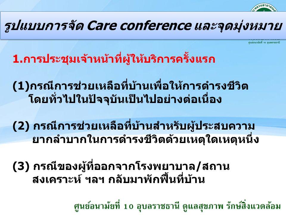 รูปแบบการจัด Care conference และจุดมุ่งหมาย 1.การประชุมเจ้าหน้าที่ผู้ให้บริการครั้งแรก (1)กรณีการช่วยเหลือที่บ้านเพื่อให้การดำรงชีวิต โดยทั่วไปในปัจจุบันเป็นไปอย่างต่อเนื่อง (2) กรณีการช่วยเหลือที่บ้านสำหรับผู้ประสบความ ยากลำบากในการดำรงชีวิตด้วยเหตุใดเหตุหนึ่ง (3) กรณีของผู้ที่ออกจากโรงพยาบาล/สถาน สงเคราะห์ ฯลฯ กลับมาพักฟื้นที่บ้าน