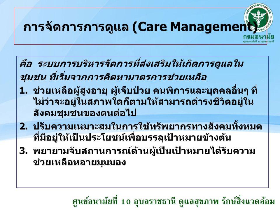 การจัดการการดูแล (Care Management) คือ ระบบการบริหารจัดการที่ส่งเสริมให้เกิดการดูแลใน ชุมชน ที่เริ่มจากการคิดหามาตรการช่วยเหลือ 1.ช่วยเหลือผู้สูงอายุ ผู้เจ็บป่วย คนพิการและบุคคลอื่นๆ ที่ ไม่ว่าจะอยู่ในสภาพใดก็ตามให้สามารถดำรงชีวิตอยู่ใน สังคมชุมชนของตนต่อไป 2.ปรับความเหมาะสมในการใช้ทรัพยากรทางสังคมทั้งหมด ที่มีอยู่ให้เป็นประโยชน์เพื่อบรรลุเป้าหมายข้างต้น 3.พยายามจับสถานการณ์ด้านผู้เป็นเป้าหมายได้รับความ ช่วยเหลือหลายมุมมอง