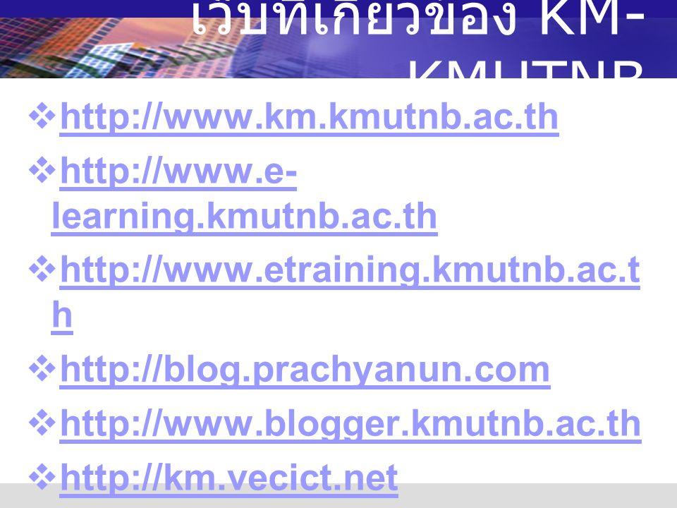เว็บที่เกี่ยวข้อง KM- KMUTNB  http://www.km.kmutnb.ac.th http://www.km.kmutnb.ac.th  http://www.e- learning.kmutnb.ac.th http://www.e- learning.kmutnb.ac.th  http://www.etraining.kmutnb.ac.t h http://www.etraining.kmutnb.ac.t h  http://blog.prachyanun.com http://blog.prachyanun.com  http://www.blogger.kmutnb.ac.th http://www.blogger.kmutnb.ac.th  http://km.vecict.net http://km.vecict.net  http://gotoknow.org http://gotoknow.org  http://www.kmi.or.th http://www.kmi.or.th