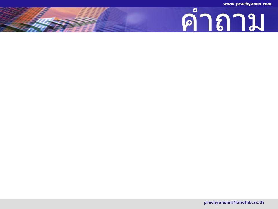 คำถาม prachyanunn@kmutnb.ac.th www.prachyanun.com