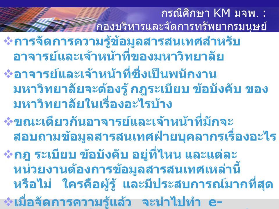 กรณีศึกษา KM มจพ.: กองบริการ การศึกษา  การจัดการความรู้ข้อมูลหลักสูตรใน มจพ.