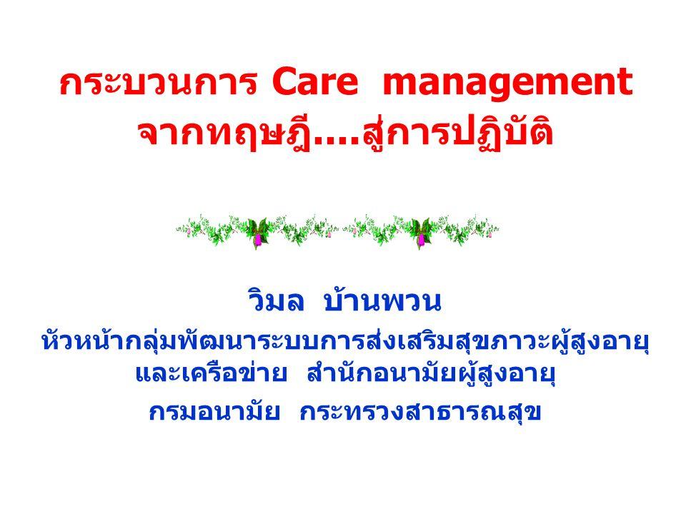 กระบวนการ Care management จากทฤษฎี....สู่การปฏิบัติ วิมล บ้านพวน หัวหน้ากลุ่มพัฒนาระบบการส่งเสริมสุขภาวะผู้สูงอายุ และเครือข่าย สำนักอนามัยผู้สูงอายุ