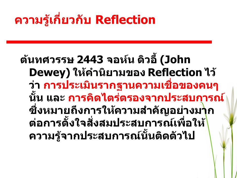 ต้นทศวรรษ 2443 จอห์น ดิวอี้ (John Dewey) ให้คำนิยามของ Reflection ไว้ ว่า การประเมินรากฐานความเชื่อของคนๆ นั้น และ การคิดไตร่ตรองจากประสบการณ์ ซึ่งหมา