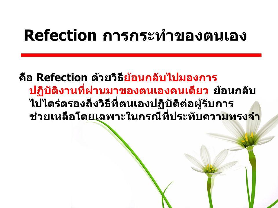 คือ Refection ด้วยวิธีย้อนกลับไปมองการ ปฏิบัติงานที่ผ่านมาของตนเองคนเดียว ย้อนกลับ ไปไตร่ตรองถึงวิธีที่ตนเองปฏิบัติต่อผู้รับการ ช่วยเหลือโดยเฉพาะในกรณ