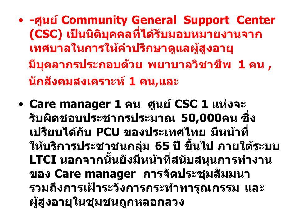 -ศูนย์ Community General Support Center (CSC) เป็นนิติบุคคลที่ได้รับมอบหมายงานจาก เทศบาลในการให้คำปรึกษาดูแลผู้สูงอายุ มีบุคลากรประกอบด้วย พยาบาลวิชาช