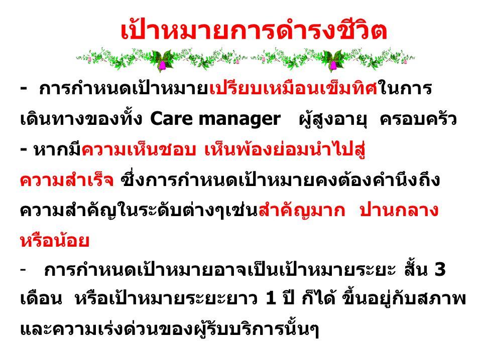- การกำหนดเป้าหมายเปรียบเหมือนเข็มทิศในการ เดินทางของทั้ง Care manager ผู้สูงอายุ ครอบครัว - หากมีความเห็นชอบ เห็นพ้องย่อมนำไปสู่ ความสำเร็จ ซึ่งการกำ