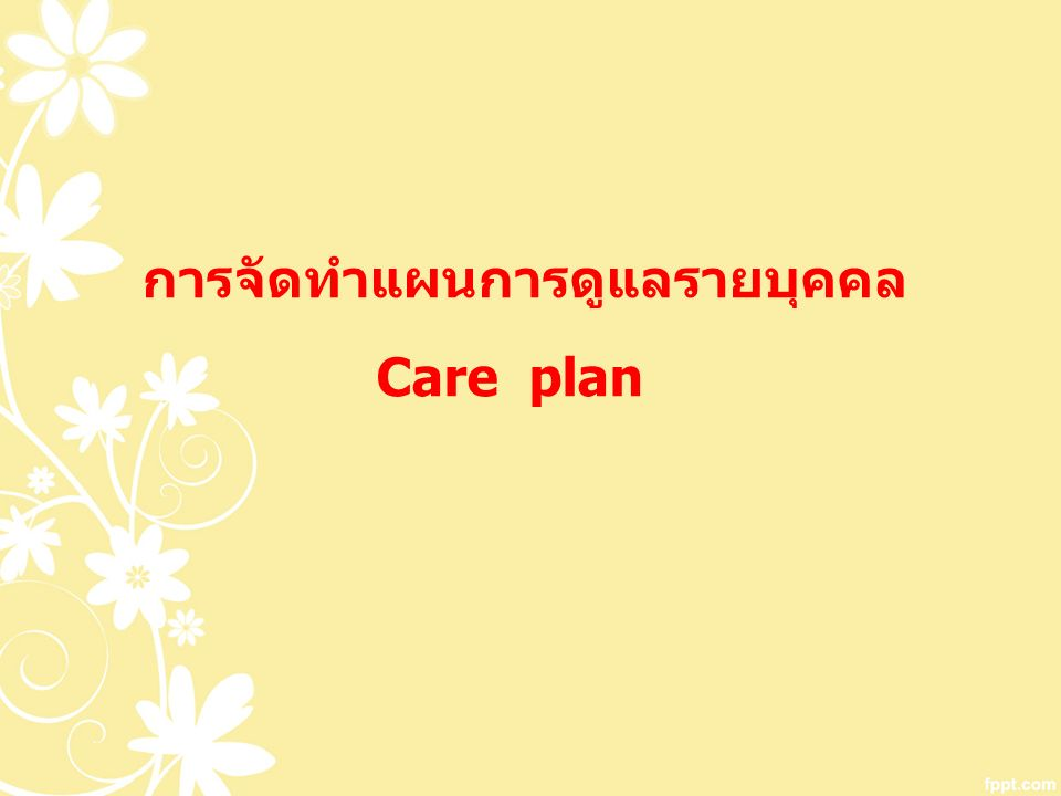 การจัดทำแผนการดูแลรายบุคคล Care plan