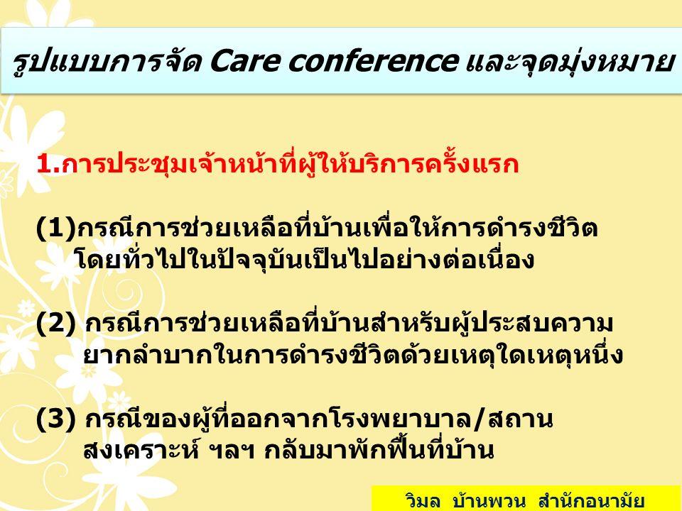 รูปแบบการจัด Care conference และจุดมุ่งหมาย 1.การประชุมเจ้าหน้าที่ผู้ให้บริการครั้งแรก (1)กรณีการช่วยเหลือที่บ้านเพื่อให้การดำรงชีวิต โดยทั่วไปในปัจจุ