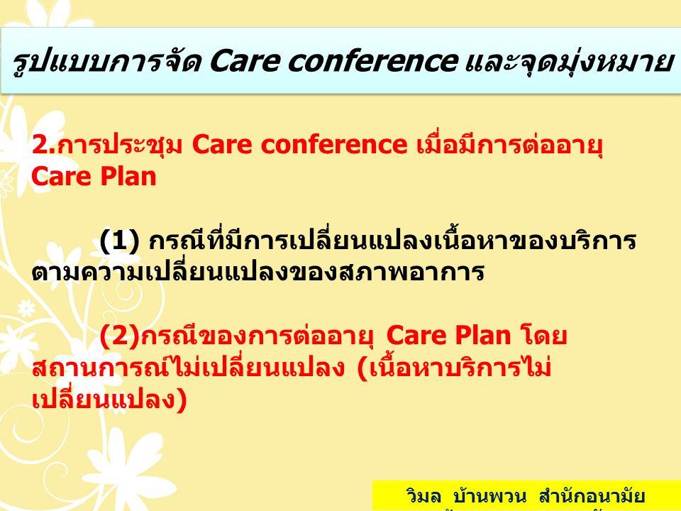 รูปแบบการจัด Care conference และจุดมุ่งหมาย 2.การประชุม Care conference เมื่อมีการต่ออายุ Care Plan (1) กรณีที่มีการเปลี่ยนแปลงเนื้อหาของบริการ ตามควา