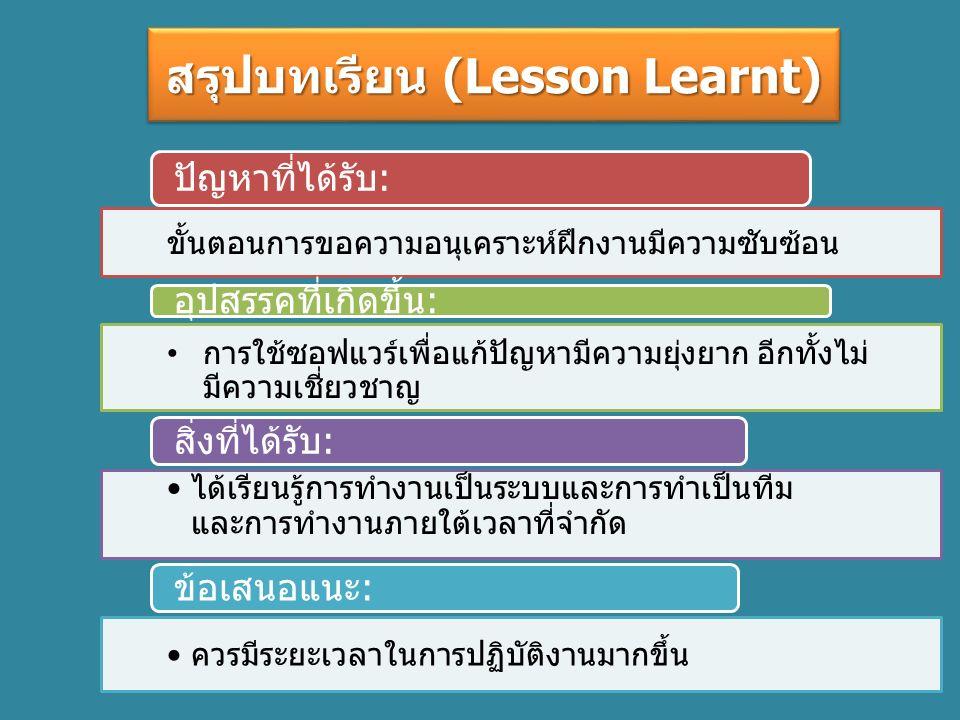 สรุปบทเรียน (Lesson Learnt) ขั้นตอนการขอความอนุเคราะห์ฝึกงานมีความซับซ้อน การใช้ซอฟแวร์เพื่อแก้ปัญหามีความยุ่งยาก อีกทั้งไม่ มีความเชี่ยวชาญ ได้เรียนรู้การทำงานเป็นระบบและการทำเป็นทีม และการทำงานภายใต้เวลาที่จำกัด ควรมีระยะเวลาในการปฏิบัติงานมากขึ้น สิ่งที่ได้รับ: ปัญหาที่ได้รับ: ข้อเสนอแนะ: อุปสรรคที่เกิดขึ้น: